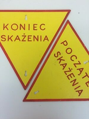 "Vintage Warning Sign ""Contamination"" Made in Poland Army Industrial Signage"