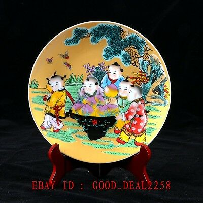 """Vintage Chinese Porcelain Hand-painted Plate """"Children & Peaches"""" /Qianlong Mark"""
