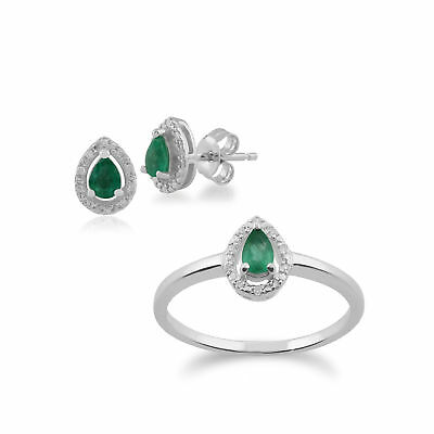 9ct White Gold Emerald & Diamond Pear Cluster Stud Earring and Ring Set