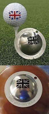 1 only TIN CUP GOLF BALL MARKER - UNION JACK ENGLAND - EASY  & YOURS FOR LIFE
