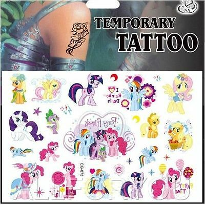 NEW 1 x My Little Pony Temporary Tattoo Sheet Kids Birthday Party Bag Filler