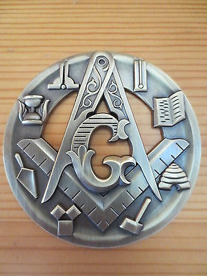 Masonic Auto Car Badge Emblems mason E33 Compass And Square Tools hollow out 3D