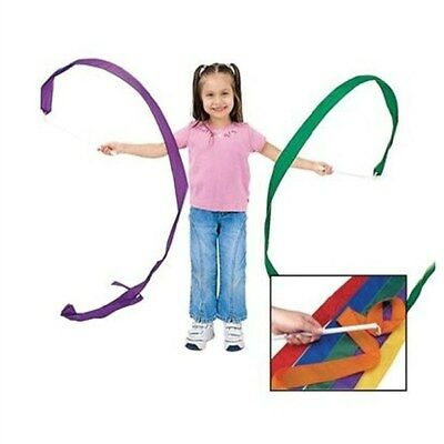 4pcs Rhythmic Gymnastics Ribbon with Wooden Handle for Kids Dancing Props