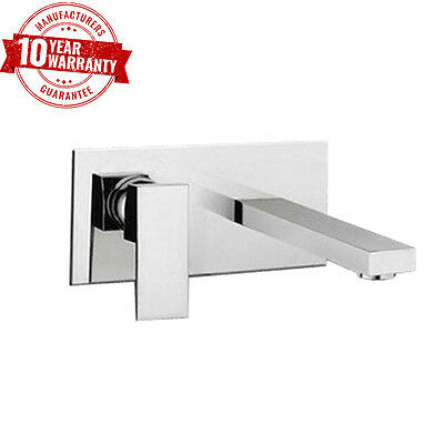 Modern Square Wall Mounted Basin Mixer Tap Chrome Single Lever Luxury Style