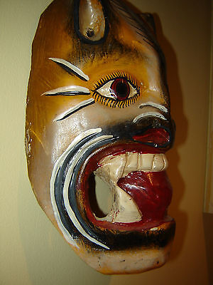 Mexican Hand Carved & Hand Painted Wood Ceremonial Jaguar Dance Mask