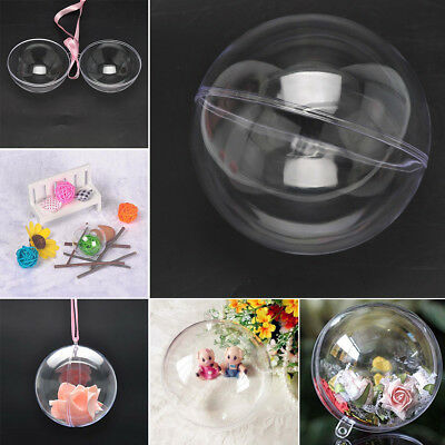 10Pcs 5 Ball Clear Plastic Christmas Craft Baubles Fillable Xmas Tree Decor Gift