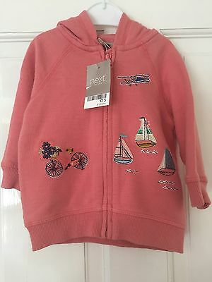 BNWT Next Baby Girl Hoody Jacket Coral 6-9 Months