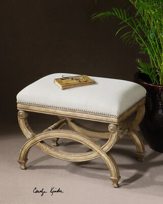 """Classic French Bench Seat Carved White Mahogany 24"""""""
