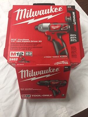 Milwaukee Impact Driver Kit AND Hammer Drill 2462-22 and 2408-20