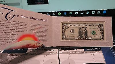 2000 Us Mint Millennium/dollar Bill Note With Us Mint Packaging/coa
