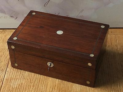 Antique Rosewood and mother of pearl jewellery sewing table box. With key