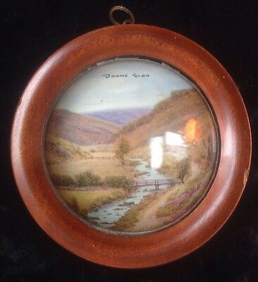 Antique vue d'optique framed print convex glass Doone Glen Lynton Devon