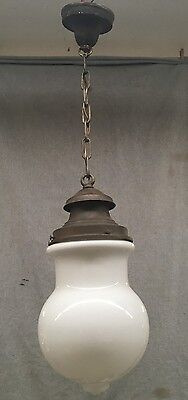 Antique Victorian Pendant Light Decorative unusual Milk Glass Globe Vtg 534-17E