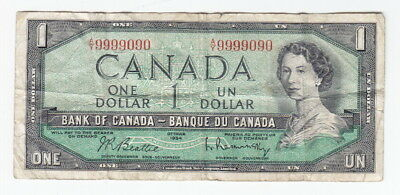 1954 Bank Of Canada $1 Note – Double Digit Serial Number