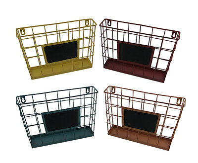 Set of 4 Colored Metal Wire Wall Mounted Baskets w/Chalkboard