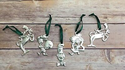 Dr Seuss The Cat in the Hat Christmas Ornaments 5 Silver Plated