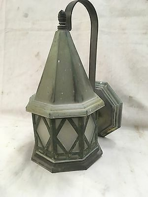 Vtg Brass Arts Crafts Porch Sconce Light Diamond Frosted Glass Cottage 536-17E