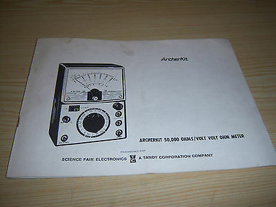 1972  Archerkit 50,000 OHMS / Volt Volt OHM Meter Manual - Radio Shack Tandy