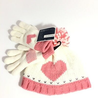 West Loop Girls Pink Heart Hat & Gloves Knitted Set Lined One Size NEW