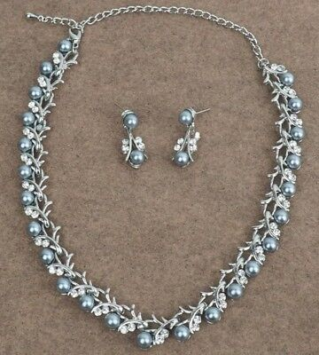 Charcoal Grey Colour Pearl Necklace Set, Party, Prom