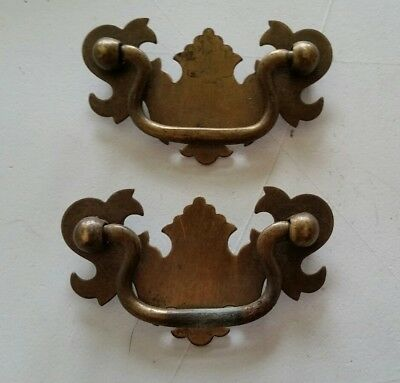 "Pair . Old,vintage Matching  Metal Drawer Pulls Handles 2"" Ctr To Ctr (407)"