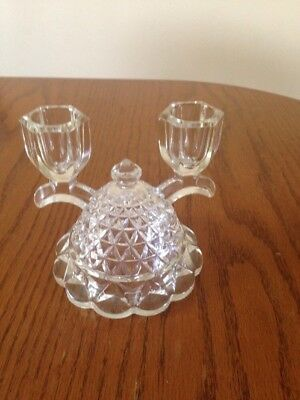 Vintage Glass Double Candle Stick Holder