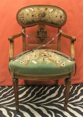 Petit Point 'Playing Cards' Motif Scottish Oak Armchair