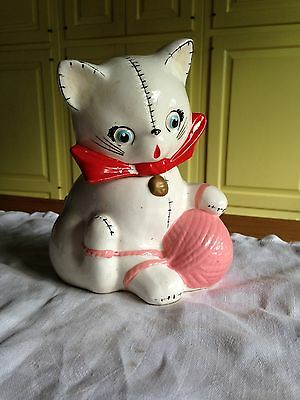 Cat Still Bank with Ball Yarn~NAPCO 1956 Hand Painted~Bobby S1350