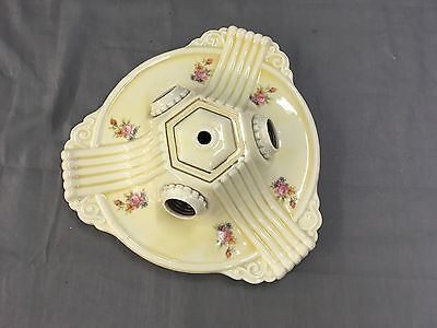 Vtg Ceramic Porcelain Ceiling Light  Flush Mount shabby Floral Chic Old 539-17E