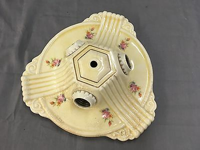 Vtg Ceramic Porcelain Ceiling Light Fixture Flush Mount Floral Chic Old 540-17E