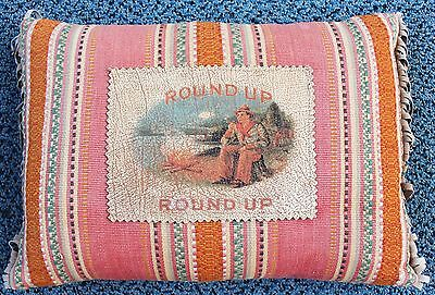 """Vintage 14"""" """"cowboy Round Up"""" Colorful Fabric Pillow With Leather Fringe Decor"""