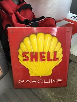 """1980's 12 1/4"""" Shell Gasoline Pump Sign"""