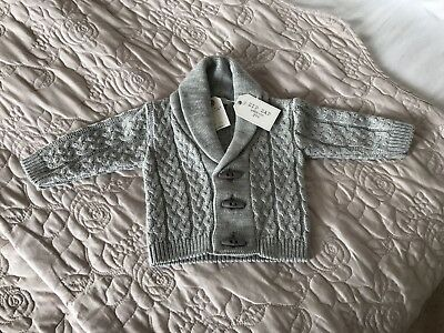 Baby's Grey Knitted Cardigan 3 Months