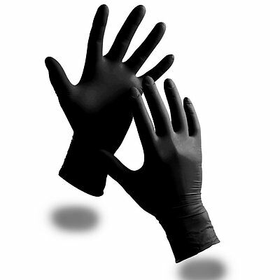 100 x Extra Strong Powder Free Black Nitrile Disposable Gloves Large - Comes TCH