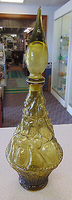 Genie Bottle Wine Carafe Avocado Green Glass Raised Fruit Made in Italy