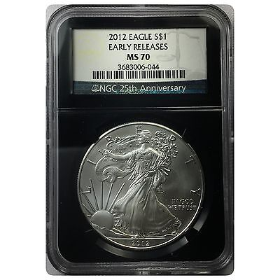 2012 Silver American Eagle Coin MS-70 NGC - Early Releases - Black Label