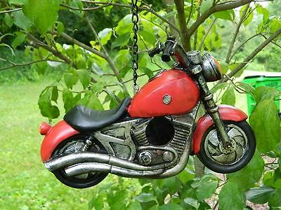 Motorcycle Decorative Bird House Garden Decor Biker Hand Painted Resin Model 10""