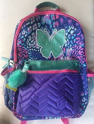 "Leopard Print Glitter Butterfly 16"" Backpack School Book Bag Tote Full Size NWT"