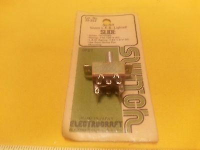 Electrocraft Slide Switch ON-OFF Green LED Lighted DPDT MPN 35-262
