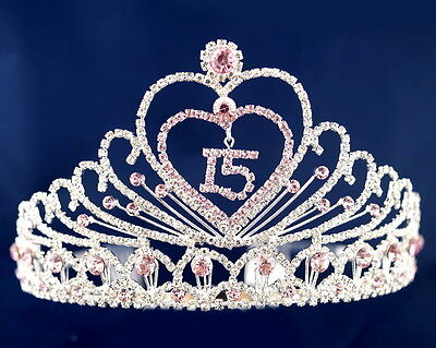 Pink Quinceanera Tiara Crown - Sweet 15 - Mis Quince Anos Diadem with Combs