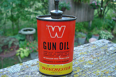 "Vintage Winchester Red ""w"" Gun Oil Tin Can Oiler Lead Top 3 Oz."