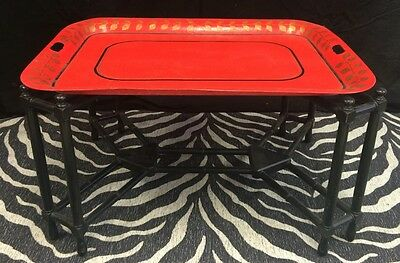 Chinoiserie Red Lacquer Leaf Tray Table