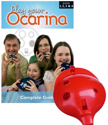 Plastic OCARINA, Red 6-hole, and COMPLETE BOOK – Play your Ocarina 1, 2, 3 & 4