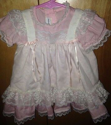 Vintage Pink Baby Girl Dress With White Lace By Yellow Bird-Made in U.S.A.
