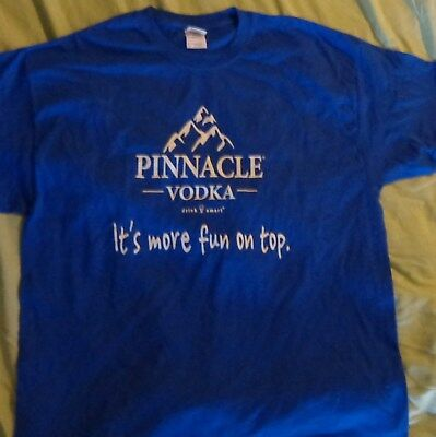 "Pinnacle Vodka T Shirt ""It's more fun on top."" - Blue - Mens XL- NEW"