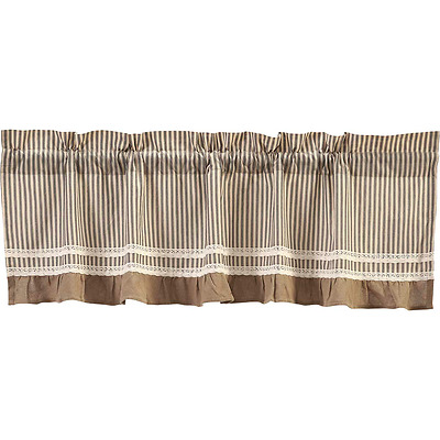 New Primitive Country Chic Shabby BLACK TICKING Burlap Lace Curtain Valance