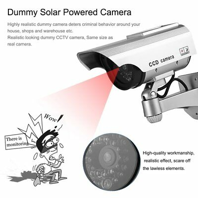 Solar Power Dummy Fake Outdoor CCTV Security Surveillance Camera Flashing LED PD