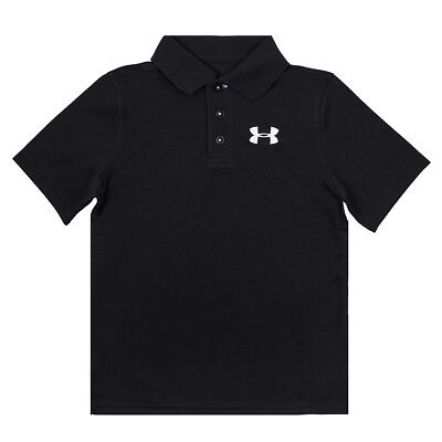 Under Armour Boy's Match Play Contrast Stitching Polo Shirt Black/White L