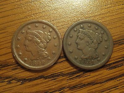 1848 & 1851 Braided Hair Large Cents (E2)