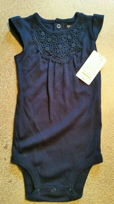 Carter's Baby Girls 12 months One piece Navy Blue Embroidered Lace